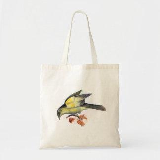 Yellow bird vintage image bag