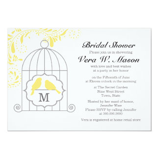 Yellow Birdcage With Love Birds Bridal Shower Card