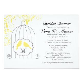 "Yellow Birdcage With Love Birds Bridal Shower 5"" X 7"" Invitation Card"
