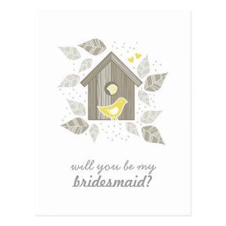 yellow birds at home my bridesmaid vertical postcard