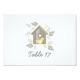 yellow birds at home table number personalized invitations