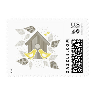 yellow birds couple in love stamp