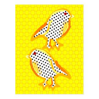 'yellow birds' digital painting Postcard
