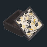 """Yellow Birds Gift Box<br><div class=""""desc"""">Medium square wooden gift box with an image of whimsical yellow birds with yellow and black tail feathers sitting in taupe trees with black leaves and yellow flowers on cream. See matching large black wooden jewelry box. See the entire This &amp; That Gift Box collection in the HOME section.</div>"""
