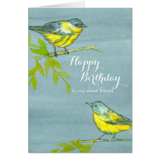 Yellow Birds Happy Birthday Friend Card