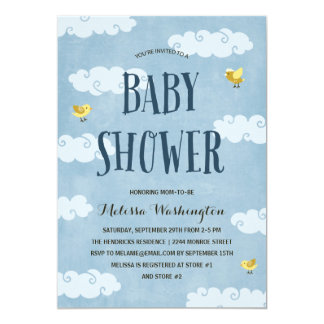 Yellow Birds | Illustrated Blue Baby Shower Card