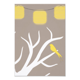 Yellow Birds In A Tree and Paper Lanterns RSVP Card