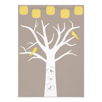 Yellow Birds In A Tree and Paper Lanterns Wedding Card