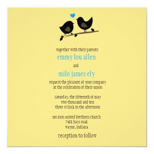"""yellow birds invitation 5.25"""" square invitation card"""