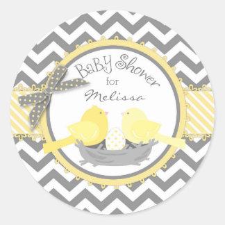 Yellow Birds Nest Egg Chevron Print Baby Shower Classic Round Sticker
