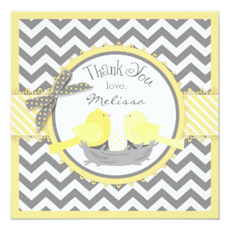 Yellow Birds Nest Egg Chevron Print Thank You Card
