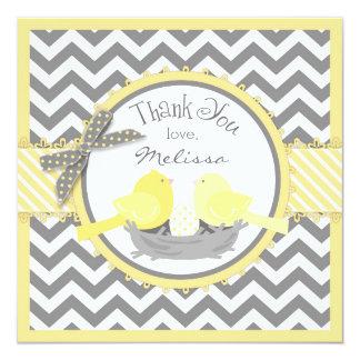 Yellow Birds Nest Egg Chevron Print Thank You Card
