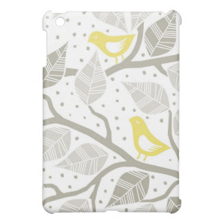 yellow birds on a tree with gray leaves case for the iPad mini