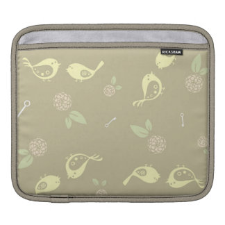 Yellow Birds on Beige with Flowers Sleeve For iPads