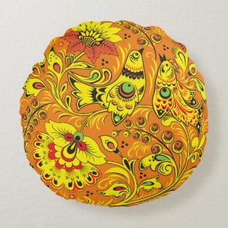 Yellow Birds Round Pillow