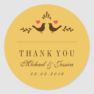 Yellow Birds Small Heart Wedding Thank You Sticker