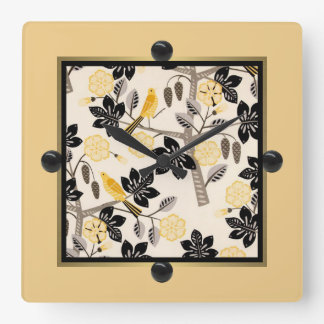 Yellow Birds Square Wall Clock