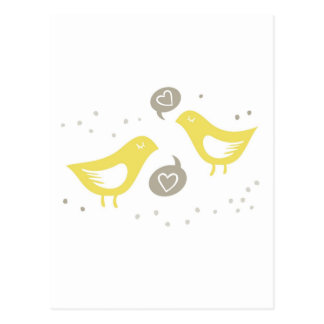 yellow birds talking about love postcard