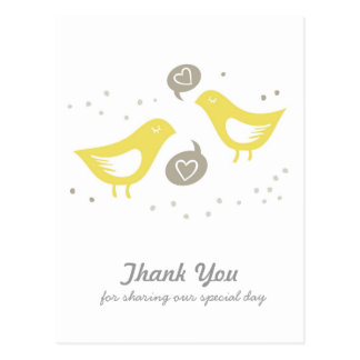 yellow birds talking about love thank you card