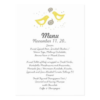 yellow birds talking about love wedding menu postcard