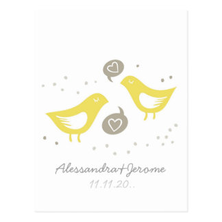 yellow birds talking leave a note postcard
