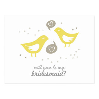 yellow birds talking my bridesmaid horizontal postcard