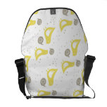 yellow birds with hearts on white messenger bags