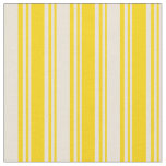 [ Thumbnail: Yellow & Bisque Colored Lined/Striped Pattern Fabric ]