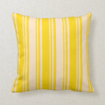 [ Thumbnail: Yellow & Bisque Colored Lined/Striped Pattern Throw Pillow ]