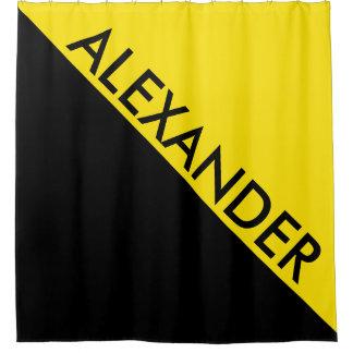 Yellow Black 2 Bold Triangles Diag Monogram Shower Curtain