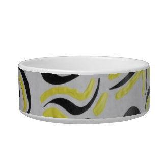 yellow/black abstract  pet bowl