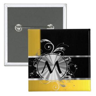 Yellow black and silver monogram pinback button