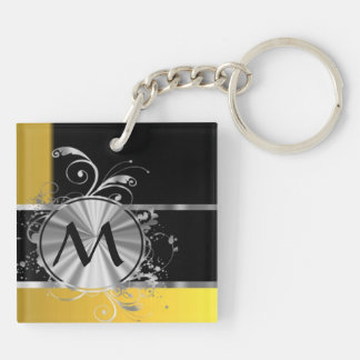 Yellow black and silver monogram Double-Sided square acrylic keychain