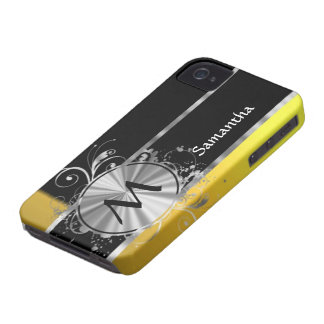 Yellow black and silver monogram iPhone 4 Case-Mate case