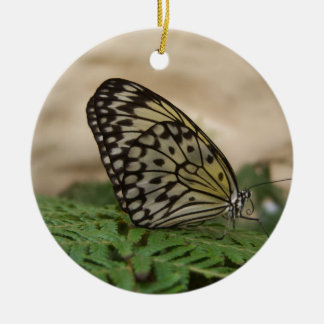 Yellow Black and Translucent Butterfly Ceramic Ornament