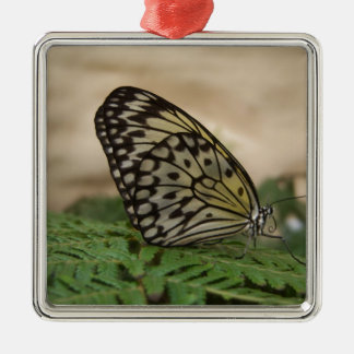 Yellow Black and Translucent Butterfly Metal Ornament