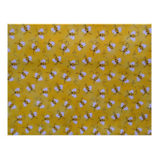 Yellow, Black and White Bees Scrapbooking Paper