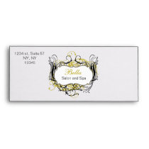 yellow, black and white Chic Business envelopes