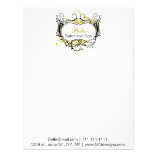 yellow, black and white Chic Business letterheads Letterhead