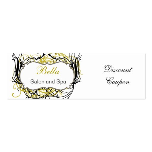 yellow,black and white Chic discount coupon Mini Business Card