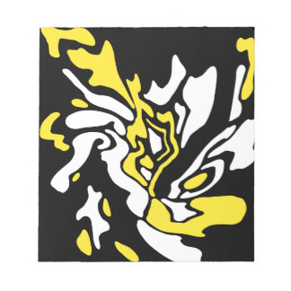 Yellow, black, and white decor notepad