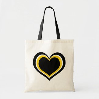 Yellow, Black and White Heart Canvas Bag