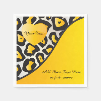 Yellow, Black and White Jaguar Print with Heart Paper Napkin