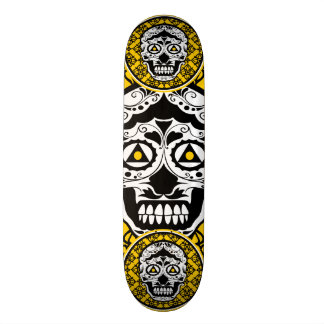 Yellow Black and white sugar skull style design Skateboard Deck