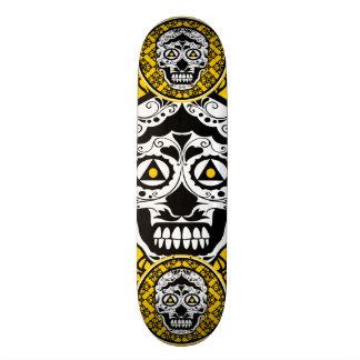 Yellow Black and white sugar skull style design Skateboard Deck