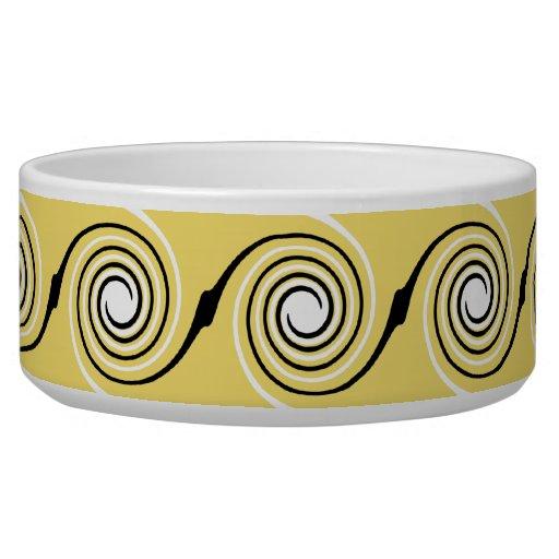 Yellow, Black and White Swirls Pattern. Dog Bowl