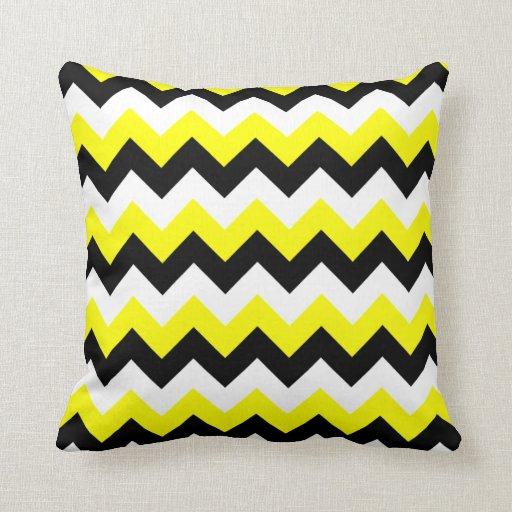 Yellow Black and White Zigzag Pillow