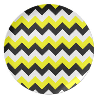 Yellow Black and White Zigzag Dinner Plates