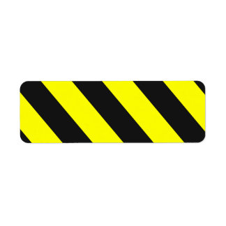 Yellow Black Attention Stripes Label