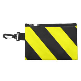 Yellow Black Attention Warning Stripes Accessory Bag